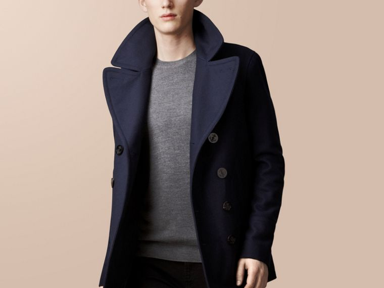 Navy Wool Cashmere Pea Coat - cell image 1