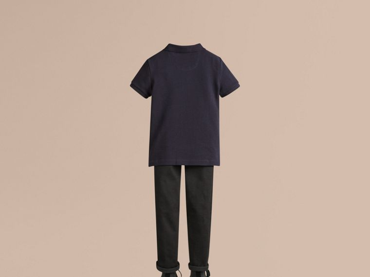 Check Placket Polo Shirt in True Navy - Boy | Burberry Australia - cell image 2
