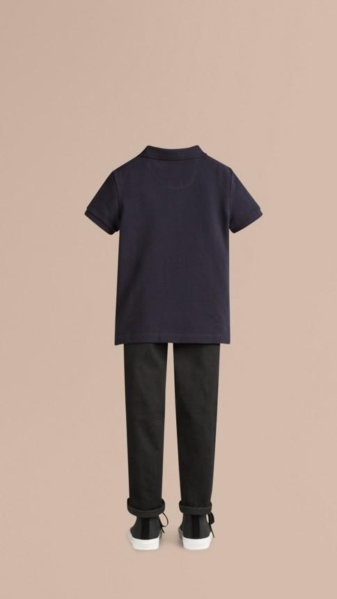 True navy Check Placket Polo Shirt True Navy - Image 3