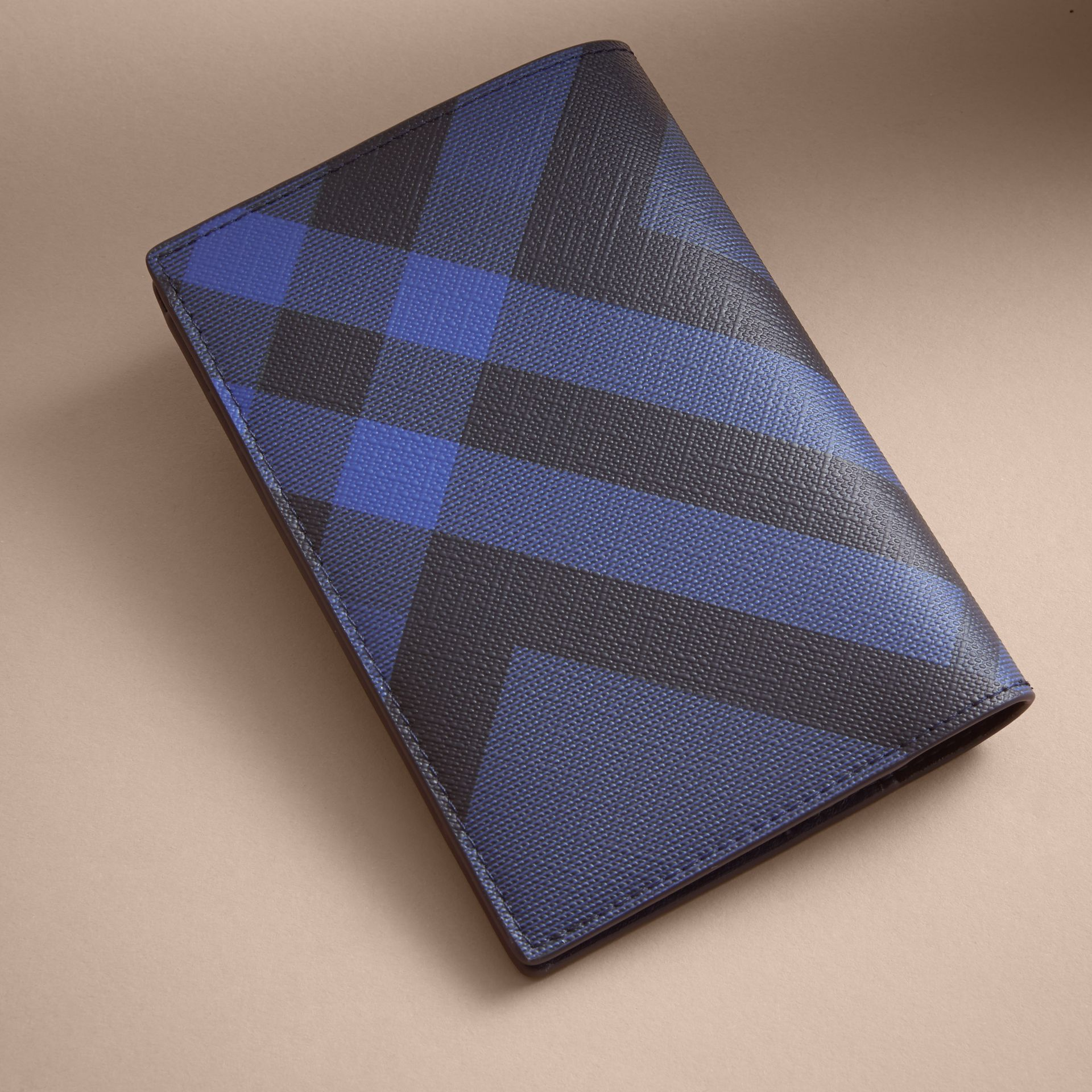 London Check and Leather Passport Holder in Bright Lapis - Men | Burberry - gallery image 3