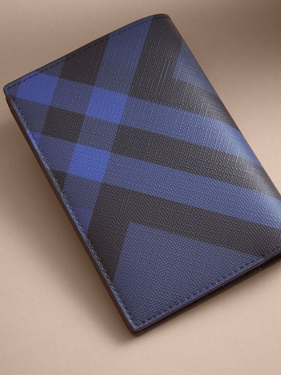 London Check and Leather Passport Holder in Bright Lapis - Men | Burberry - cell image 2
