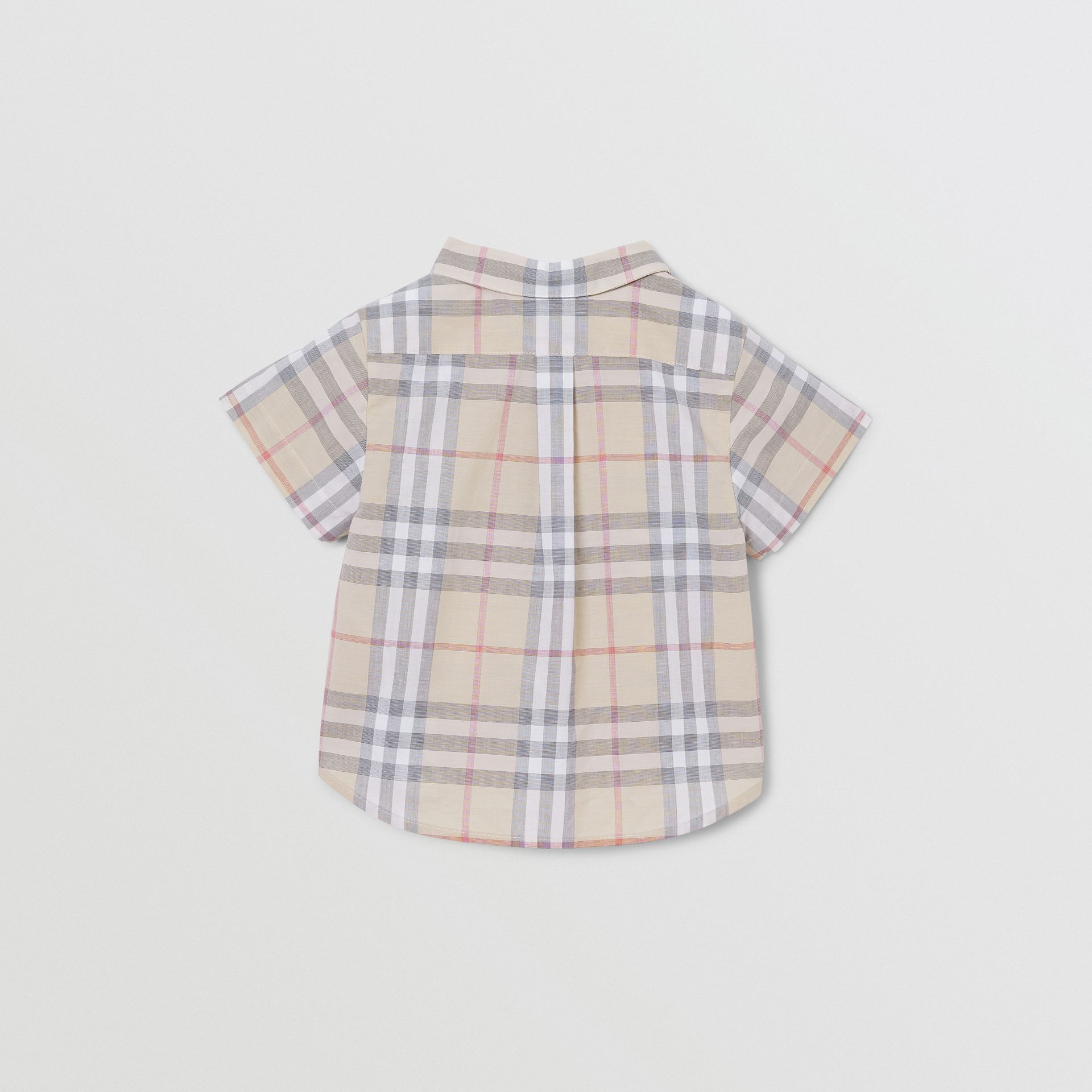 Button-down Collar Short-sleeve Check Cotton Shirt in Pale Stone - Children | Burberry United Kingdom - gallery image 3