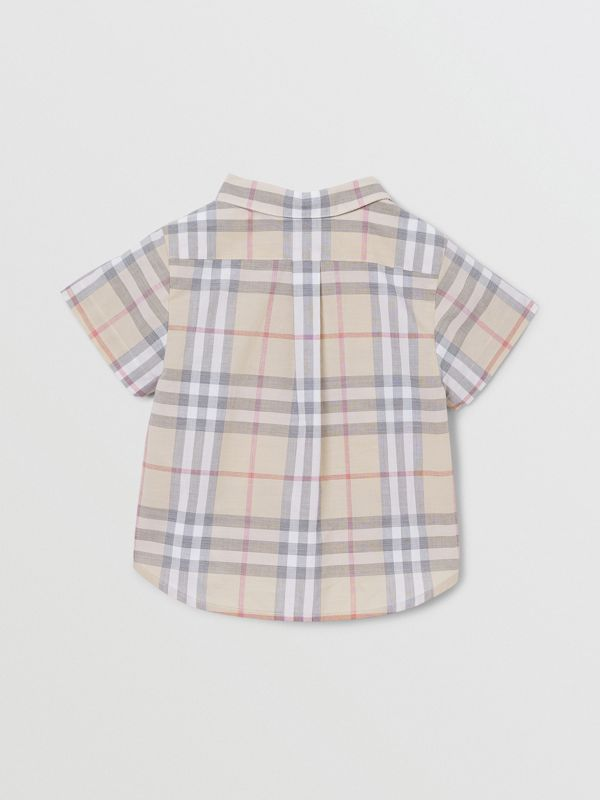 Button-down Collar Short-sleeve Check Cotton Shirt in Pale Stone - Children | Burberry United Kingdom - cell image 3