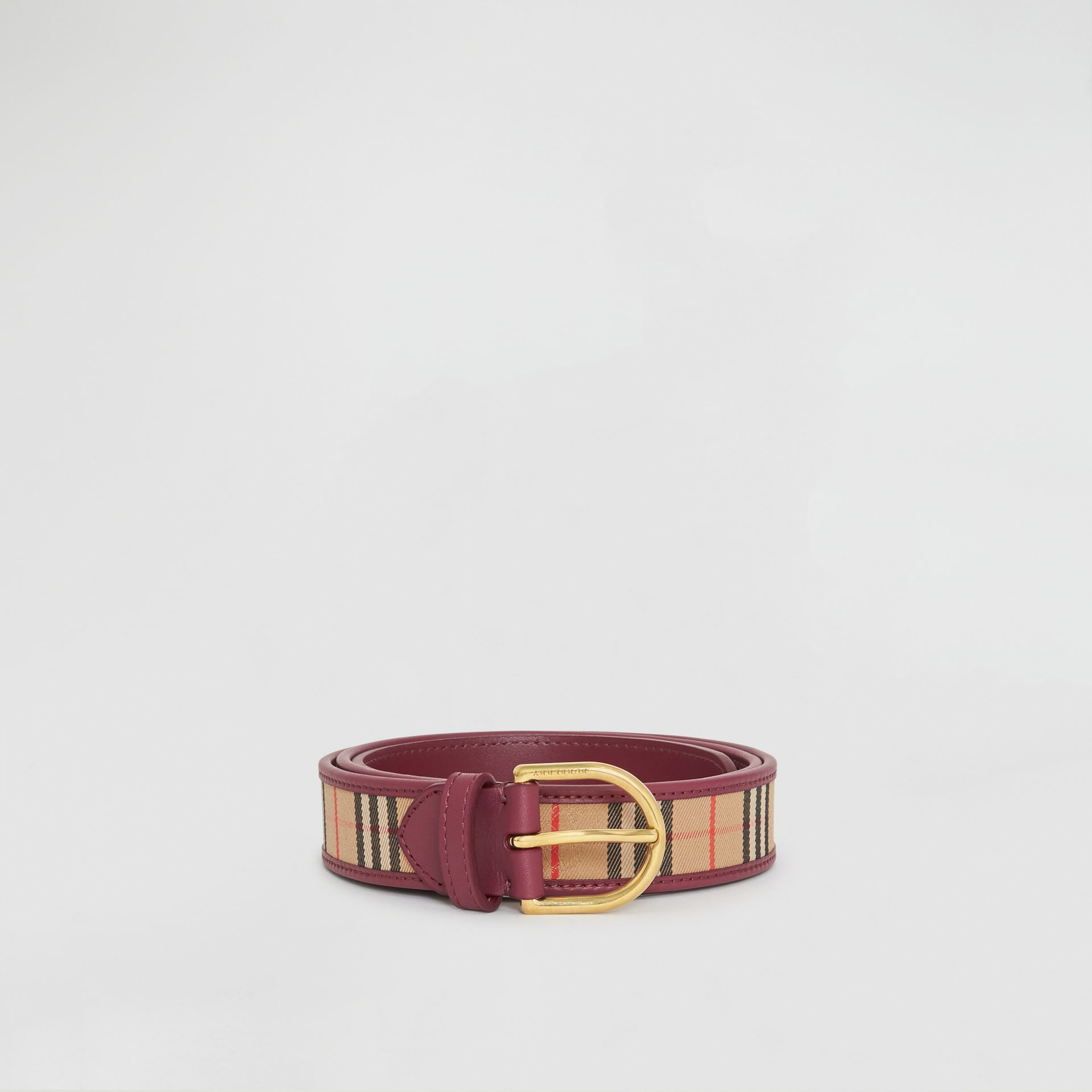 D-ring Buckle 1983 Check and Leather Belt in Antique Red - Men | Burberry Australia - gallery image 3