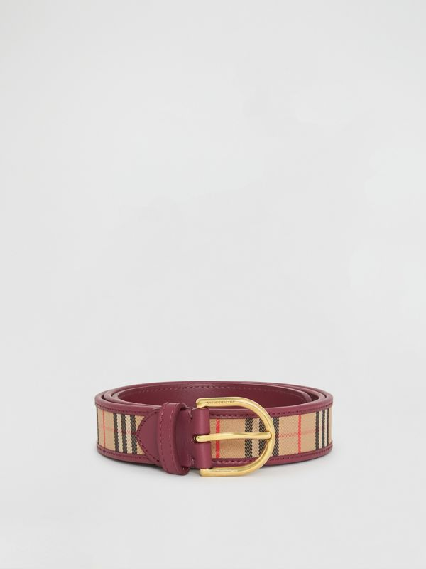 D-ring Buckle 1983 Check and Leather Belt in Antique Red - Men | Burberry Australia - cell image 3