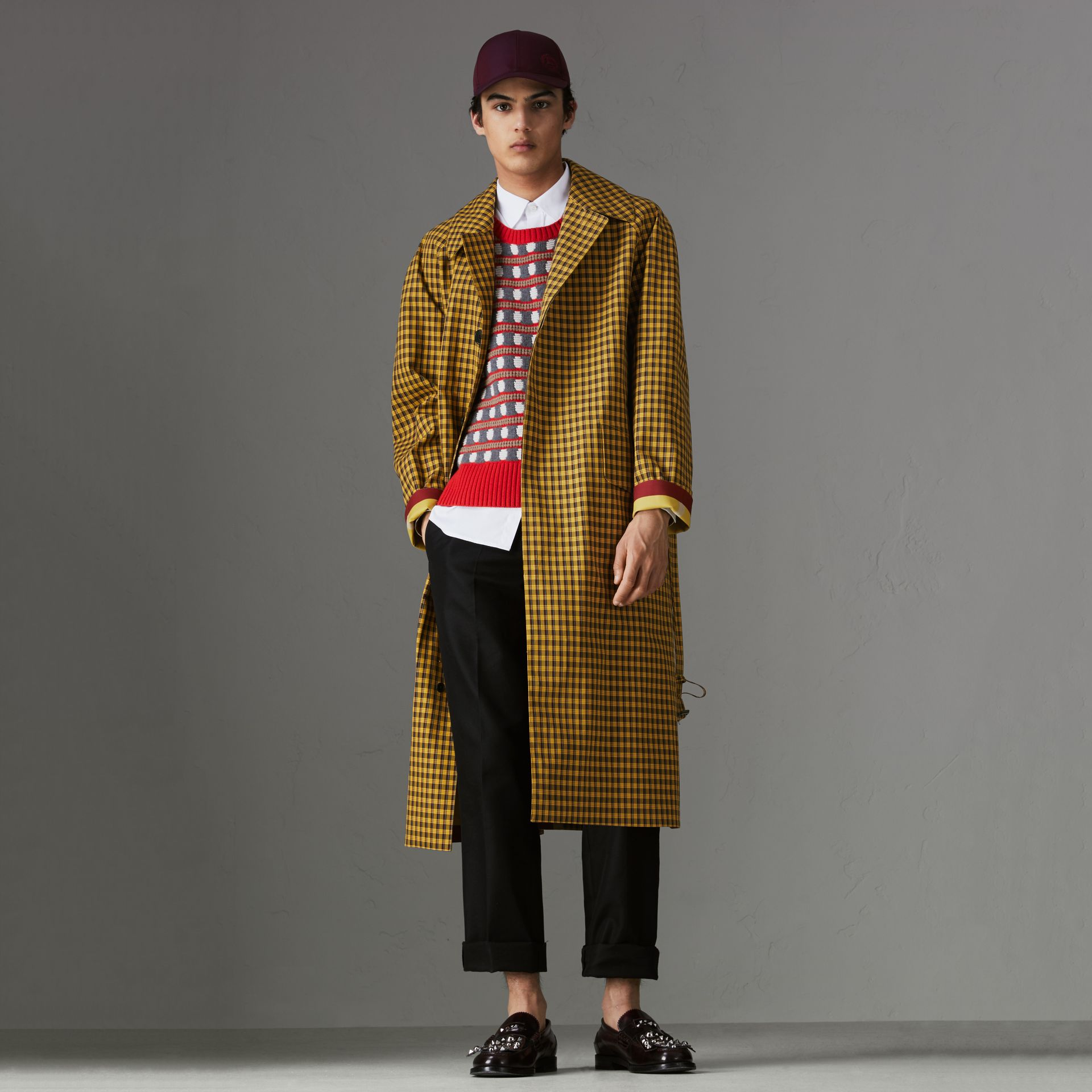 Shrunken Check Bonded Cotton Car Coat in Saffron Yellow - Men | Burberry Hong Kong - gallery image 0