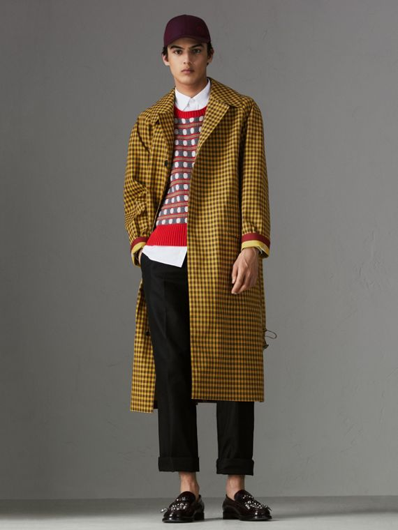 Shrunken Check Bonded Cotton Car Coat in Saffron Yellow