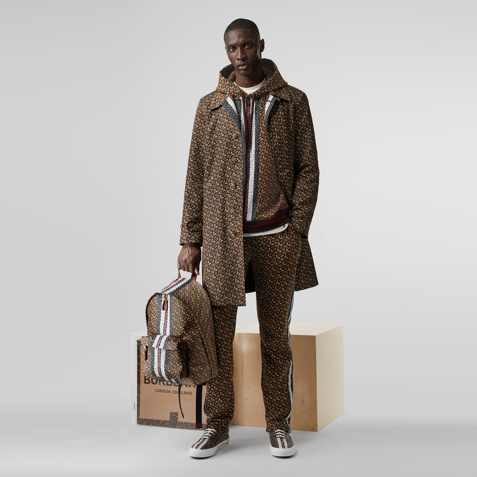Monogram Stripe Print Cotton Hoodie in Bridle Brown - Men | Burberry Australia - gallery image 6