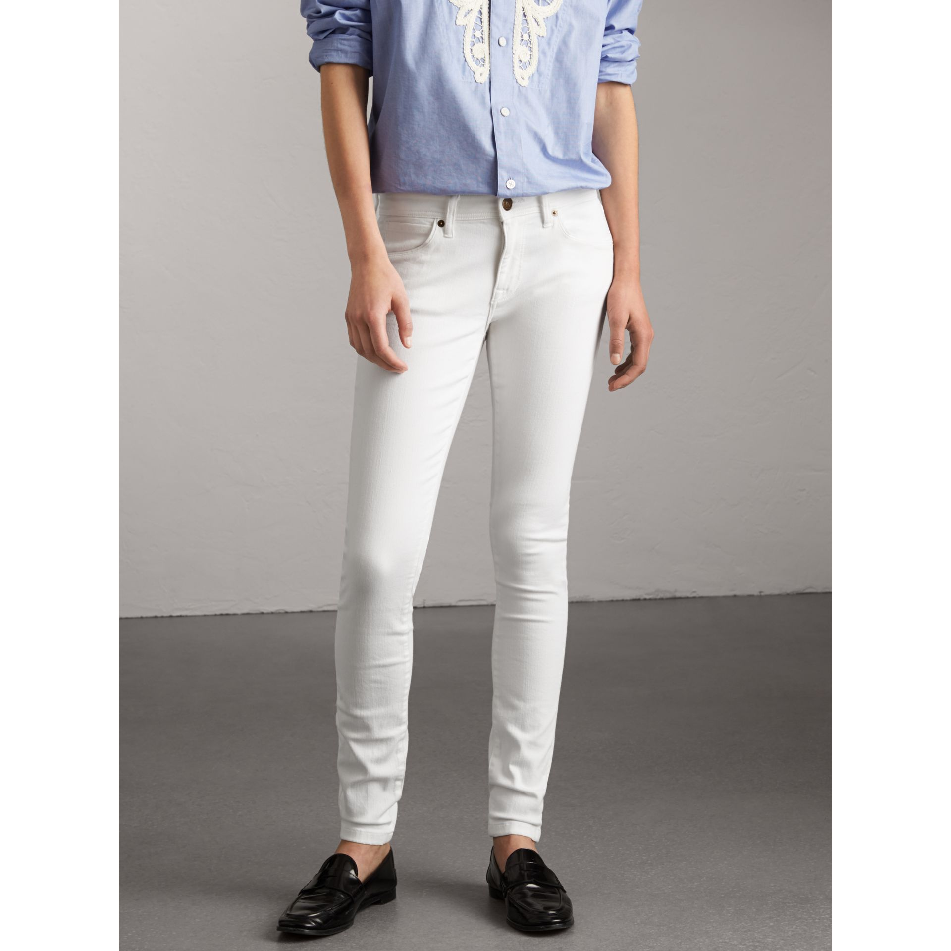 Skinny Fit Low-Rise White Jeans - Women | Burberry - gallery image 1
