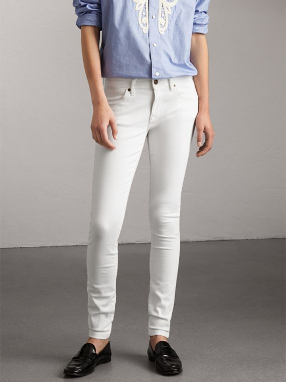 Skinny Fit Low-Rise White Jeans - Women | Burberry Canada
