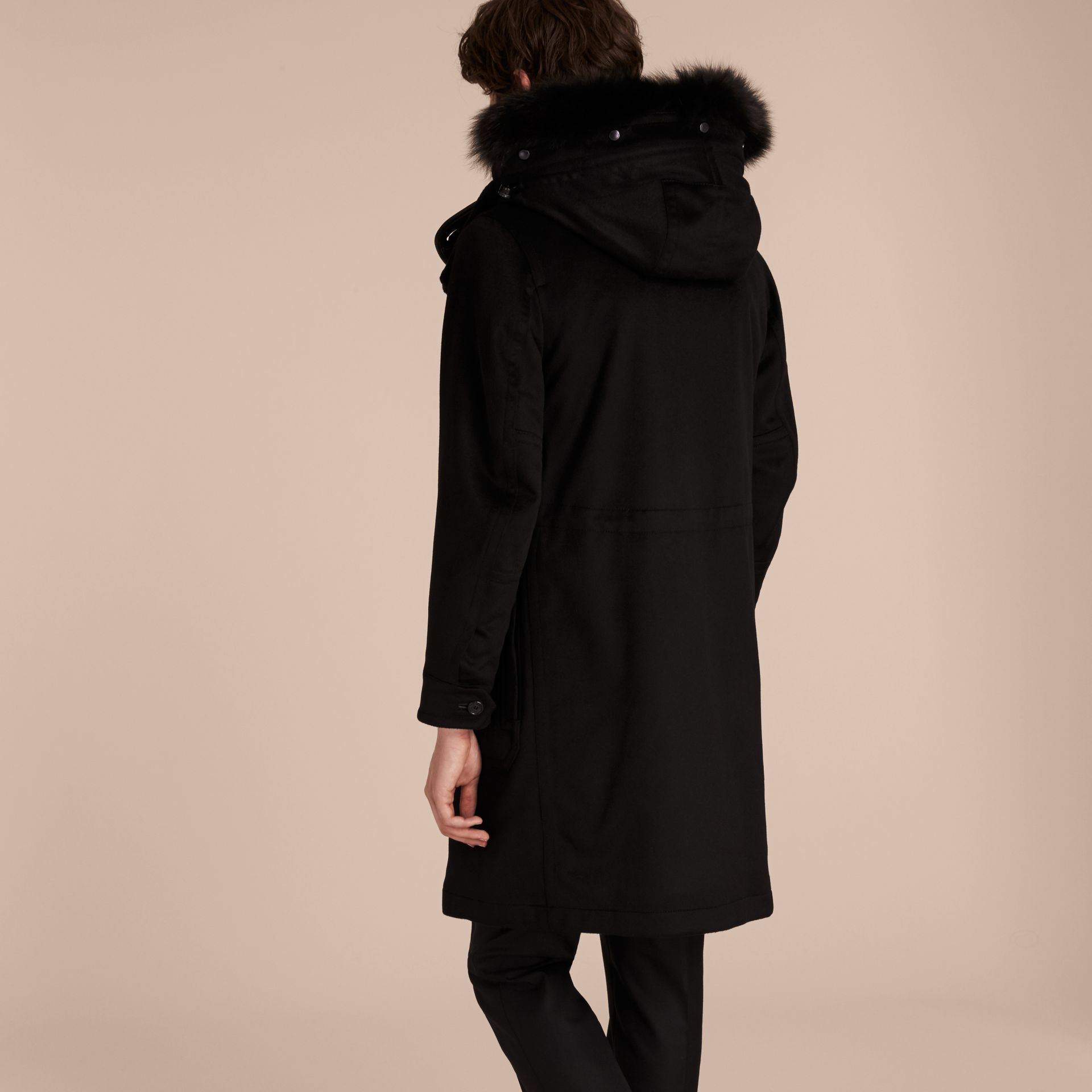 Black Fox and Shearling Trim Cashmere Parka with Fur Liner - gallery image 3
