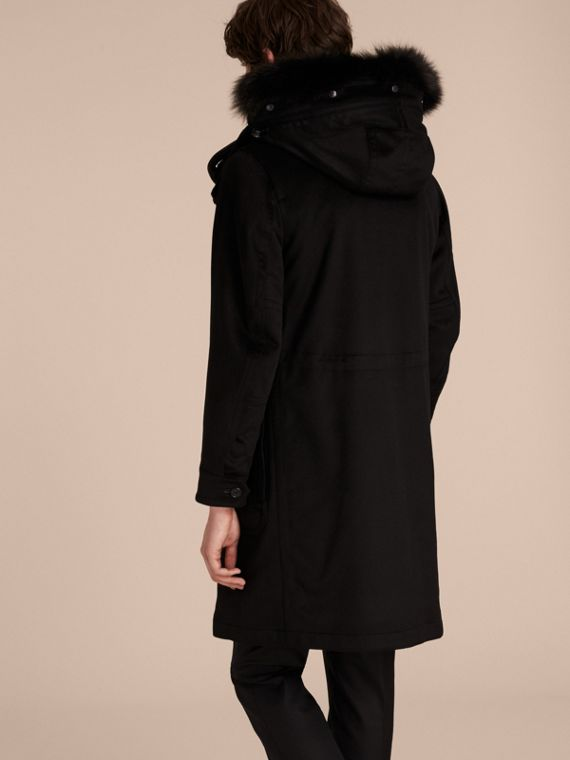 Black Fox and Shearling Trim Cashmere Parka with Fur Liner - cell image 2