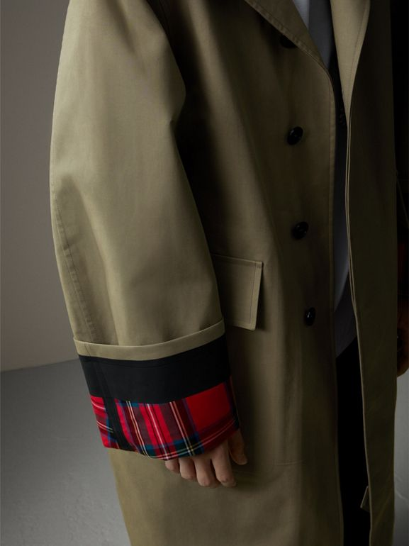 Bonded Cotton Oversized Seam-sealed Car Coat in Pale Olive/bright Red - Men | Burberry United Kingdom - cell image 1