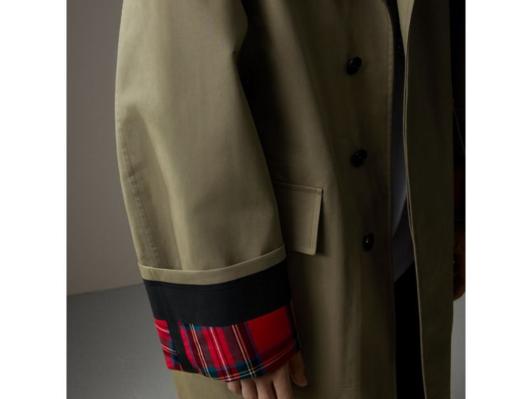 Bonded Cotton Oversized Seam-sealed Car Coat in Pale Olive/bright Red - Men | Burberry - cell image 1