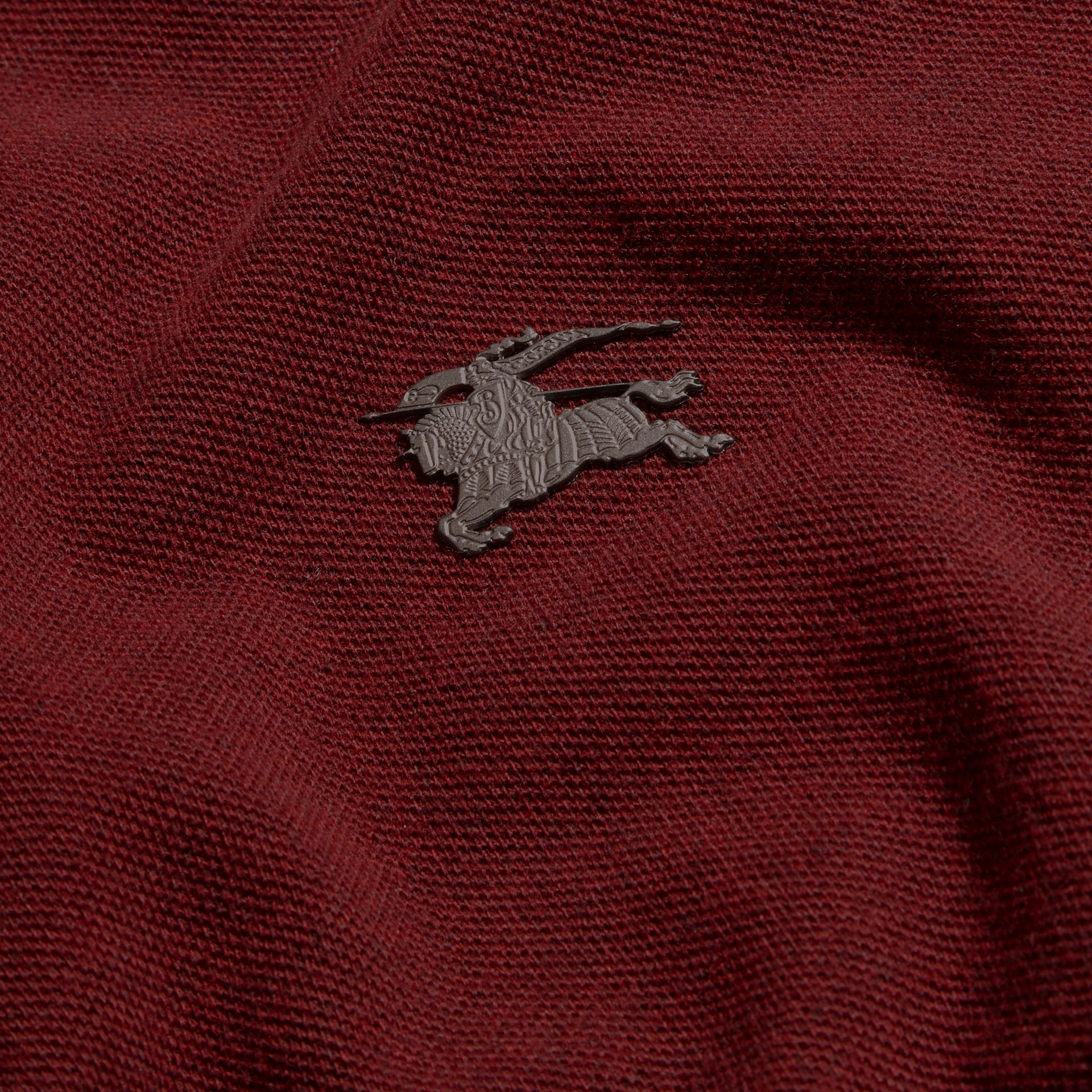 Parade red melange Contrast Colour Detail Cotton Piqué Polo Shirt Parade Red Melange - gallery image 2
