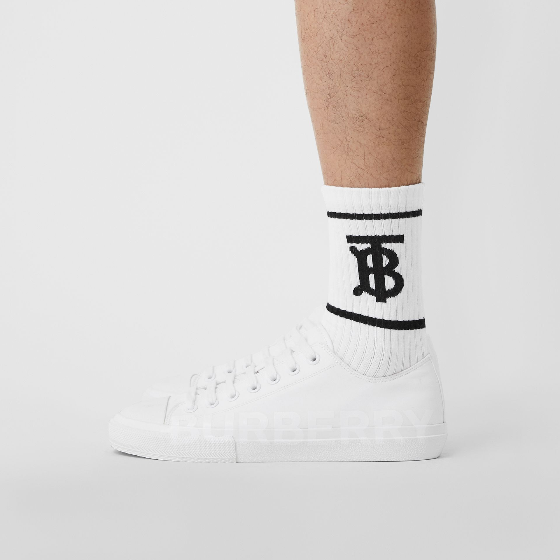 Monogram Motif Intarsia Socks in White | Burberry Singapore - gallery image 3