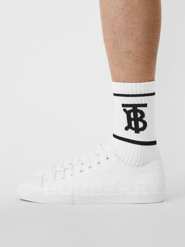 Monogram Motif Intarsia Socks in White | Burberry - cell image 3