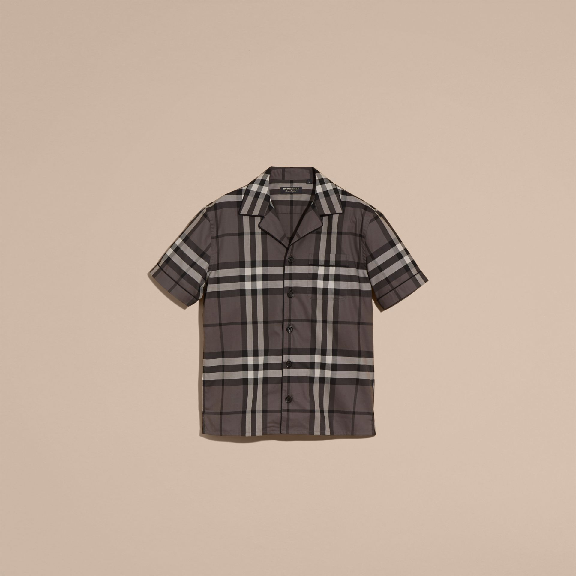 Charcoal Short-sleeved Check Cotton Pyjama-style Shirt Charcoal - gallery image 4
