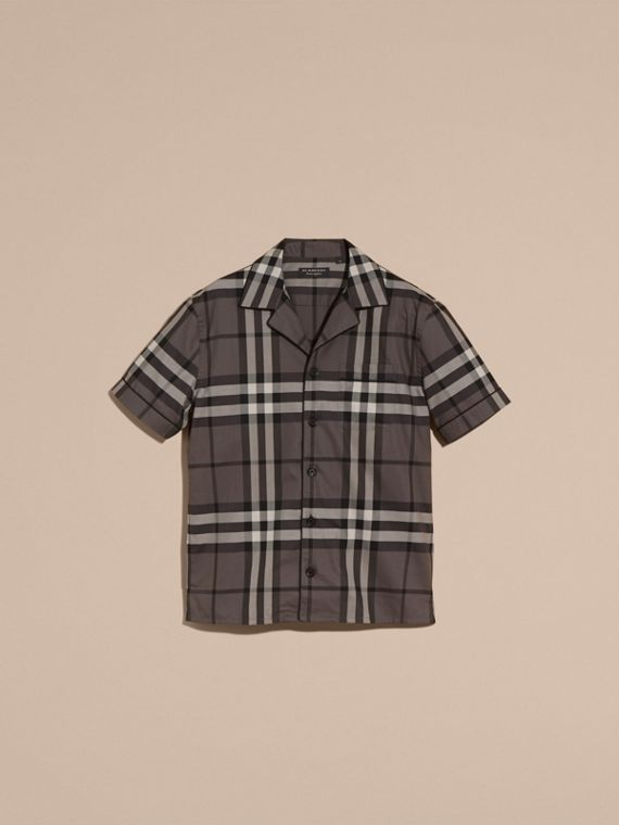 Charcoal Short-sleeved Check Cotton Pyjama-style Shirt Charcoal - cell image 3