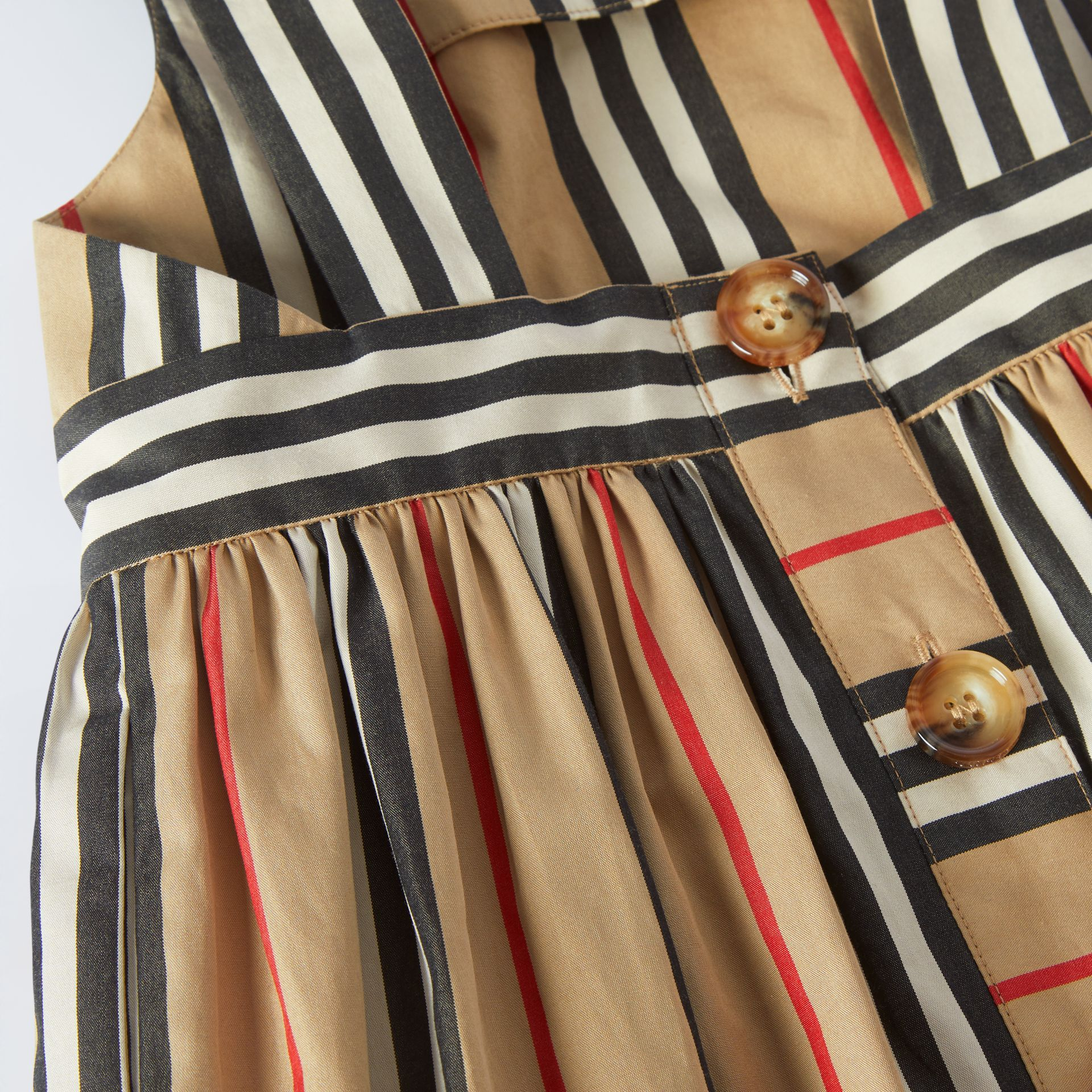 Icon Stripe Cotton Poplin Dress in Archive Beige - Children | Burberry United States - gallery image 1