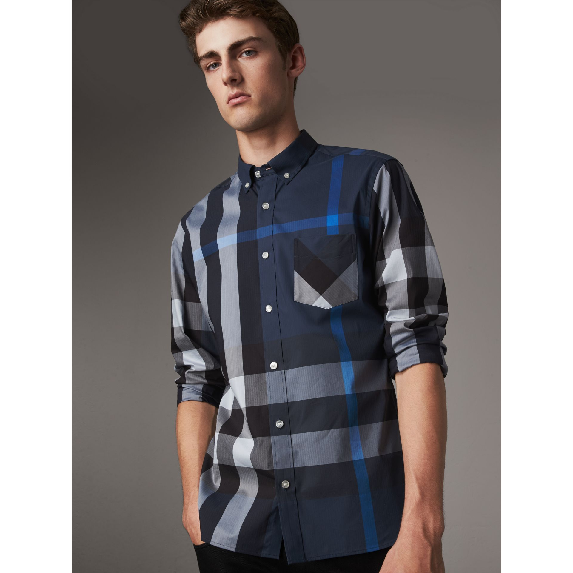 Button-down Collar Check Stretch Cotton Blend Shirt in Canvas Blue - Men | Burberry United Kingdom - gallery image 1