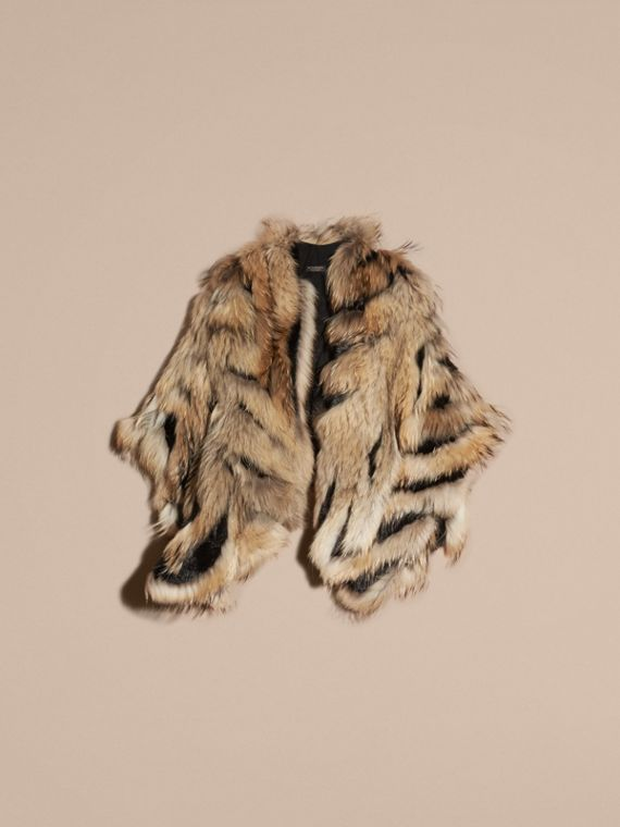 Camel/black Raccoon and Mink Poncho - cell image 3