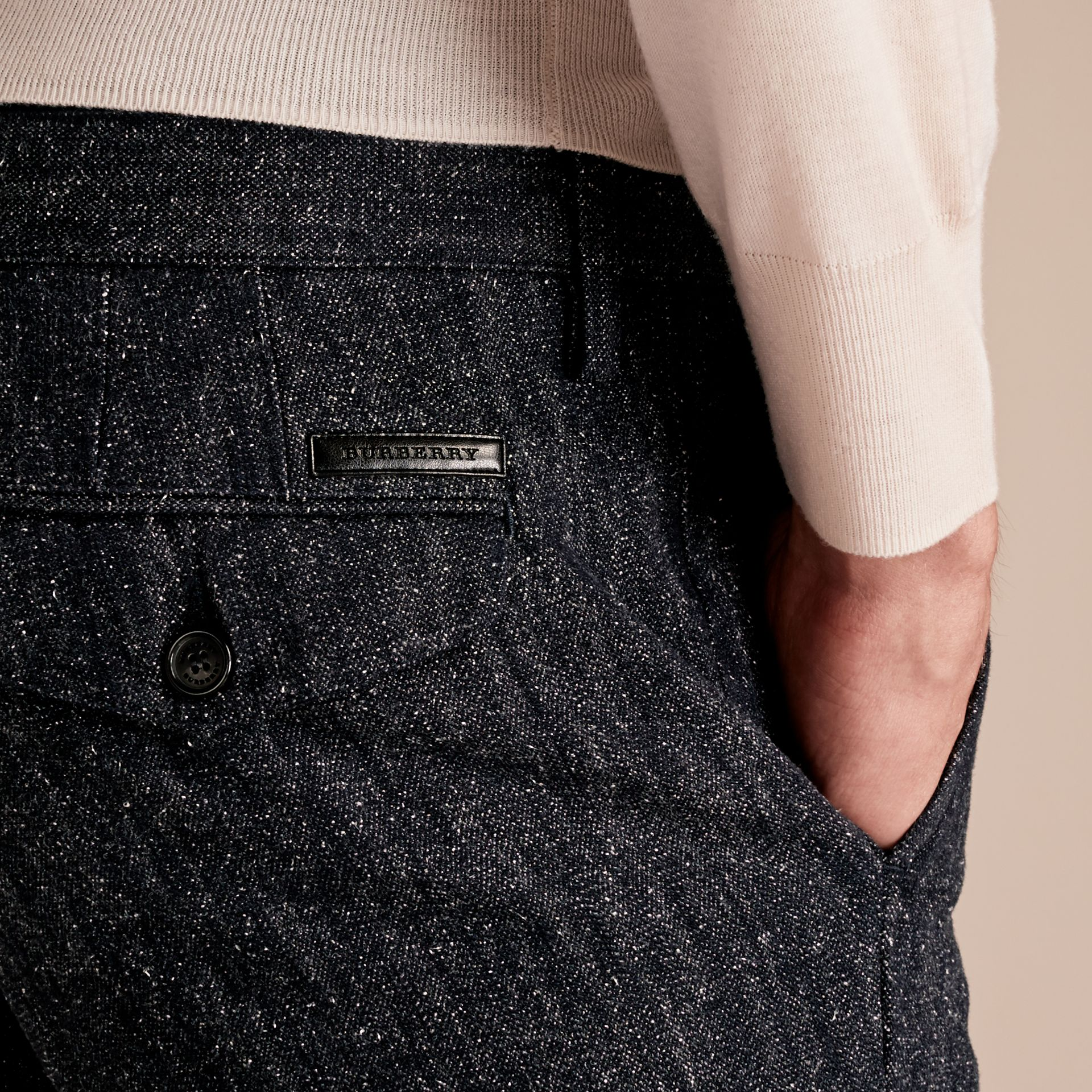 Charcoal blue Slim Fit Cotton Silk Donegal Tweed Chinos - gallery image 5
