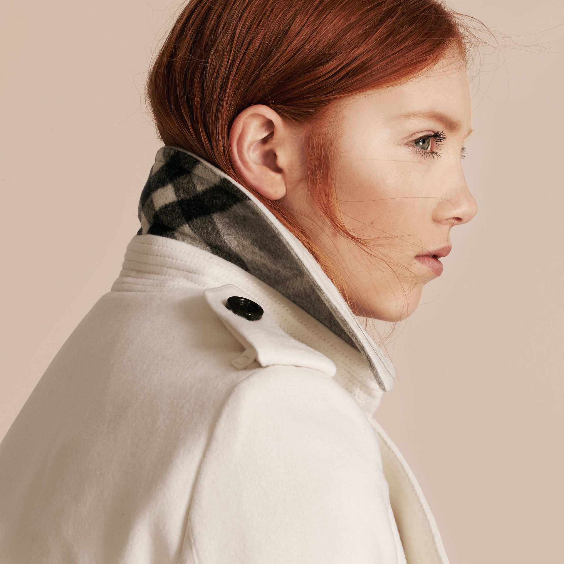 Blanc Trench-coat portefeuille en cachemire Blanc - photo de la galerie 5