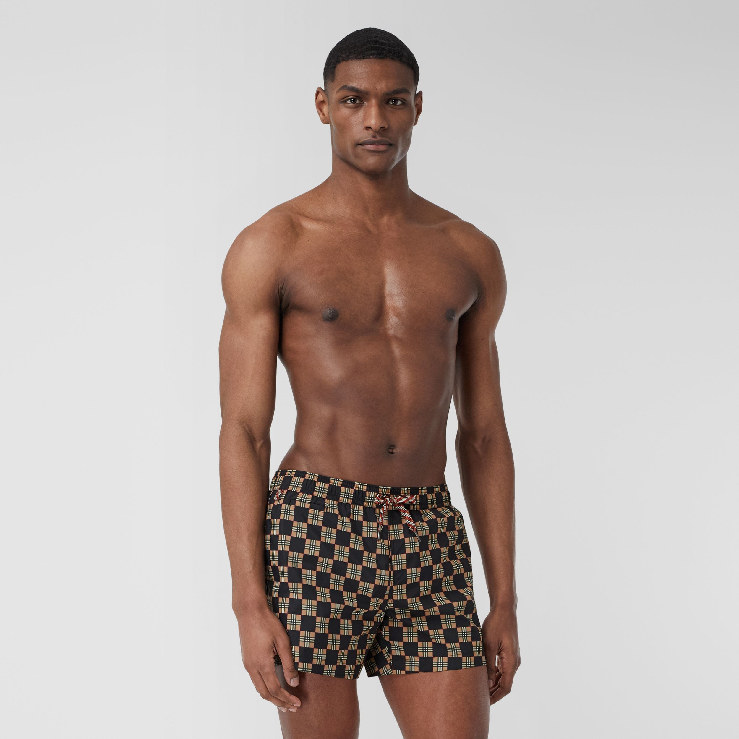 Chequer Print Drawcord Swim Shorts in Archive Beige - Men | Burberry - 1