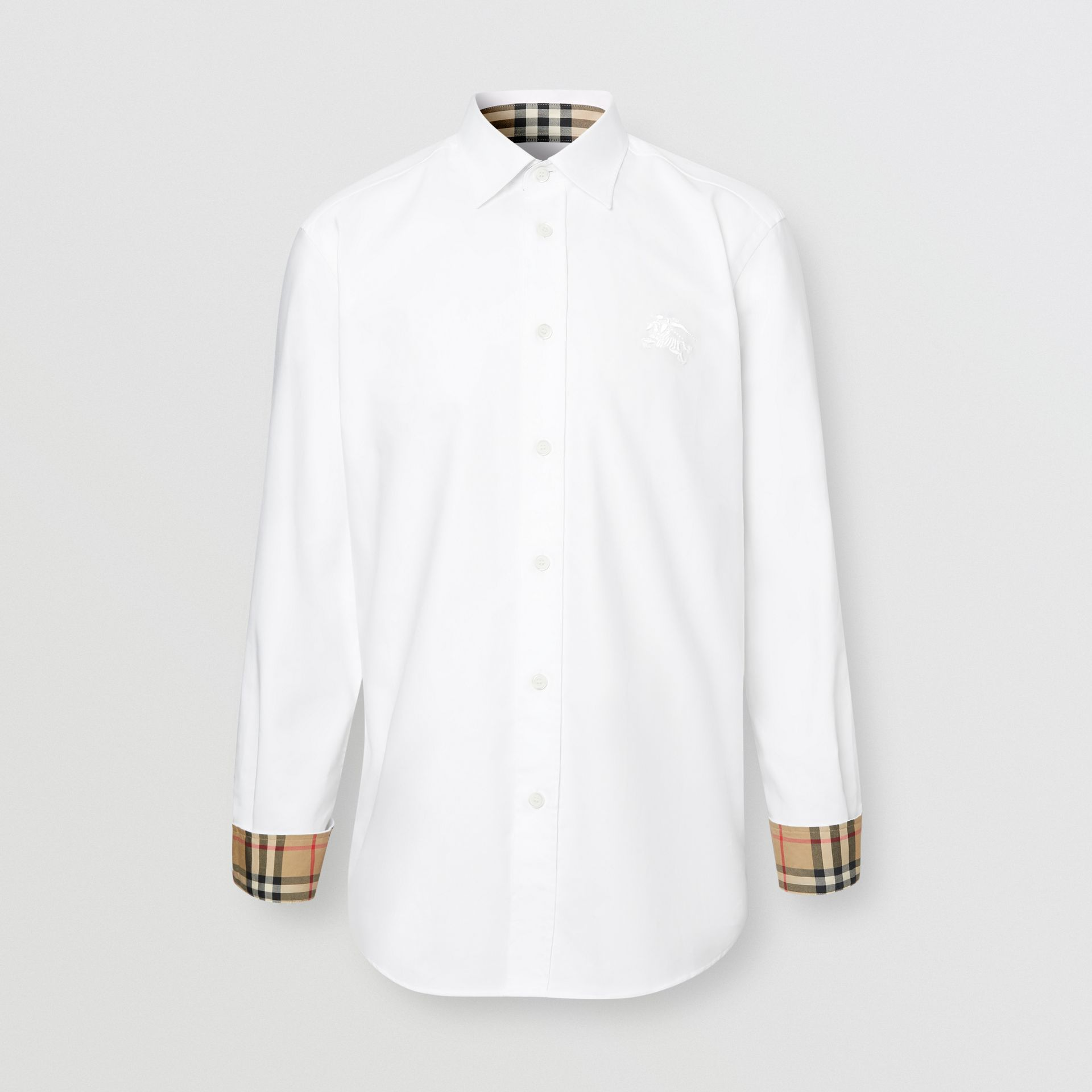 Embroidered EKD Stretch Cotton Poplin Shirt in White - Men | Burberry Hong Kong S.A.R - gallery image 3