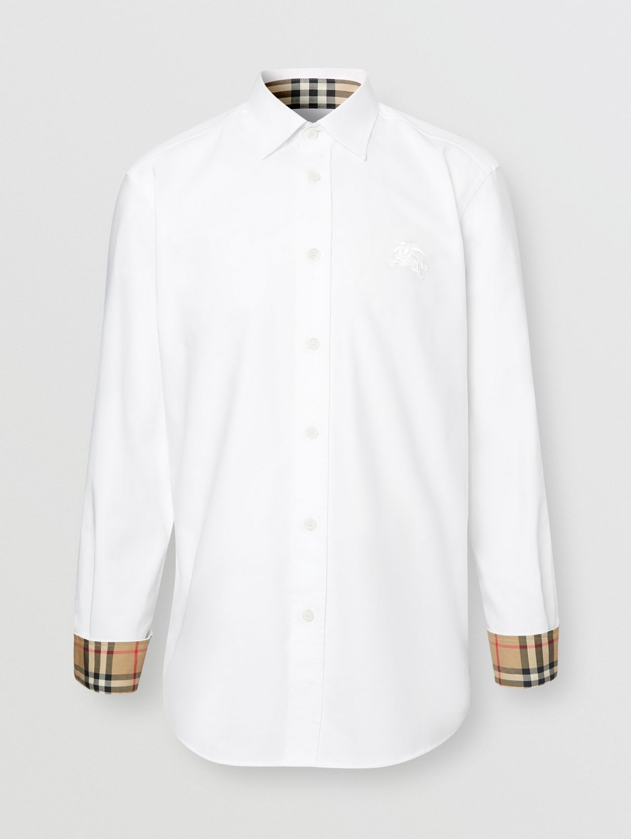 Embroidered EKD Stretch Cotton Poplin Shirt in White