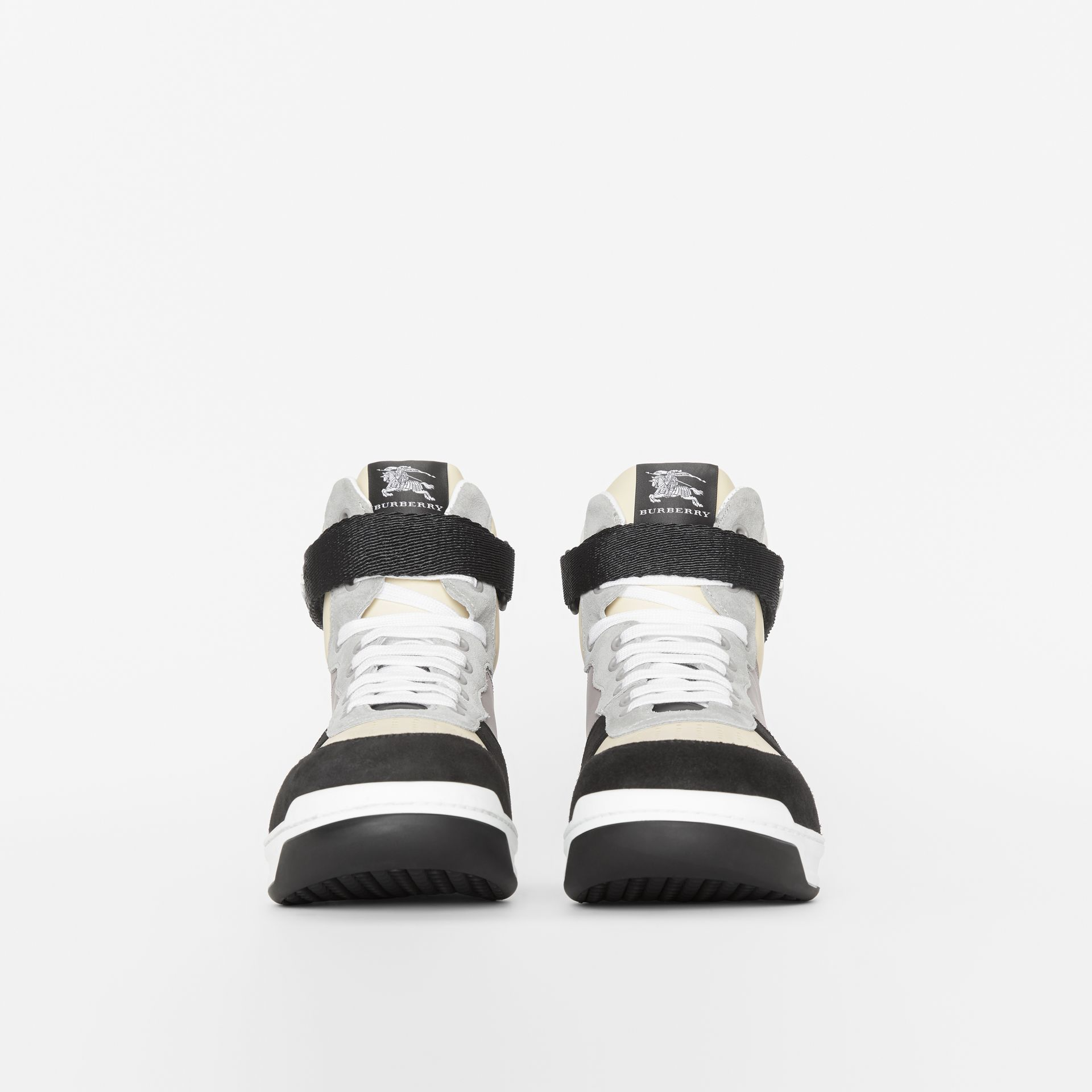 Leather and Suede High-top Sneakers in Mineral Grey - Men | Burberry United States - gallery image 2