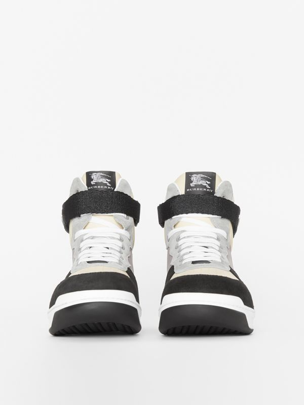 Leather and Suede High-top Sneakers in Mineral Grey - Men | Burberry - cell image 3