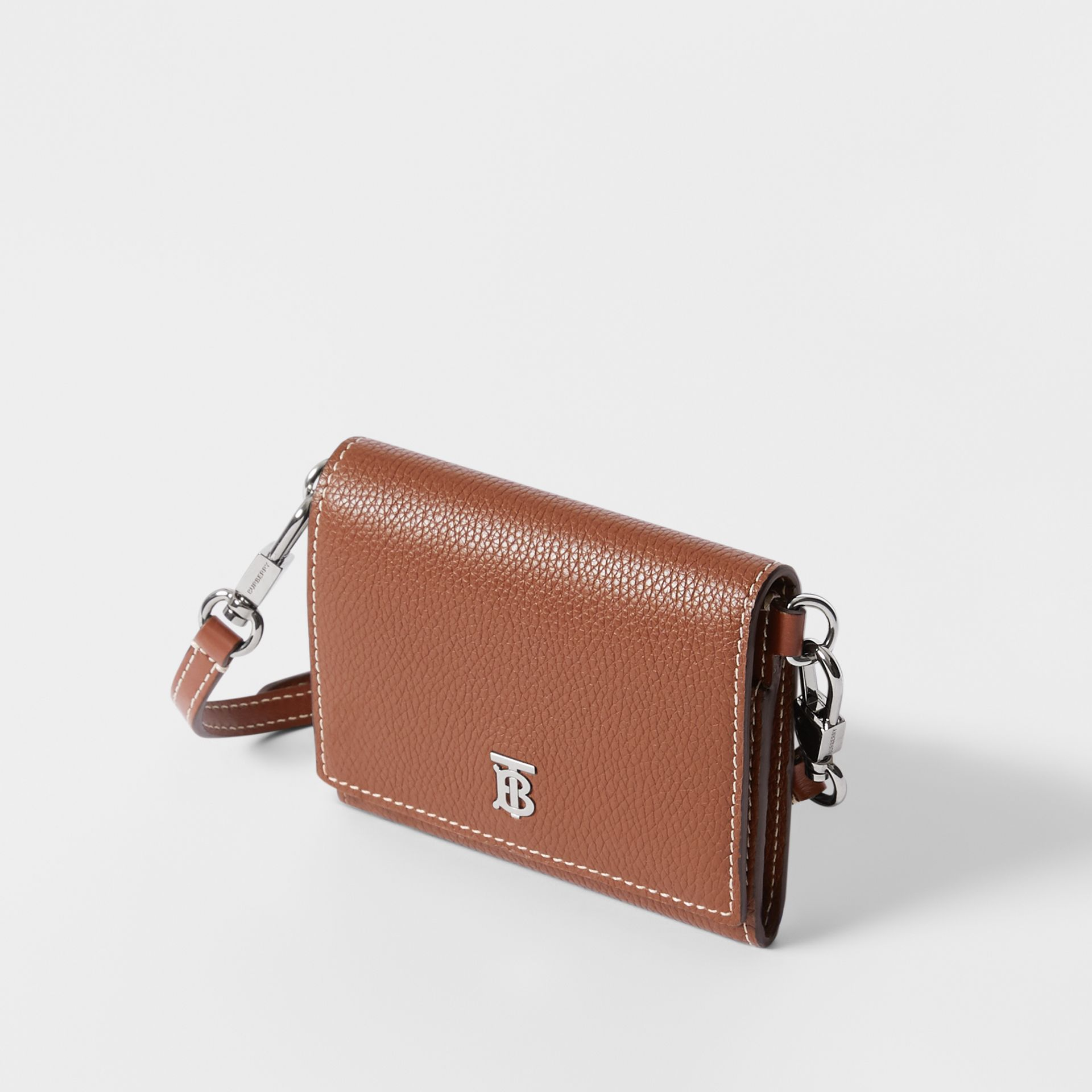 Small Grainy Leather Wallet with Detachable Strap in Tan | Burberry - gallery image 4