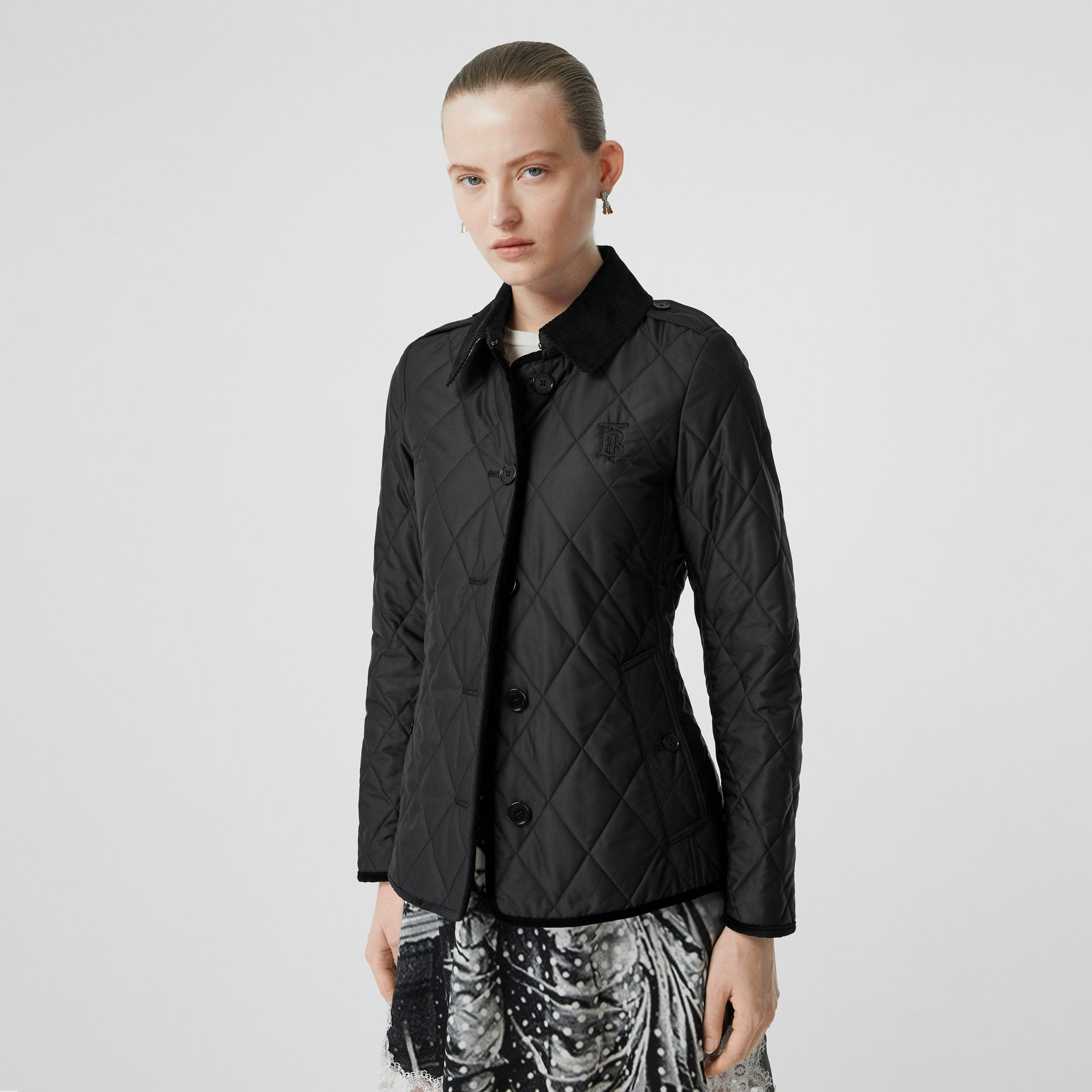 Monogram Motif Diamond Quilted Jacket in Black - Women | Burberry - gallery image 6