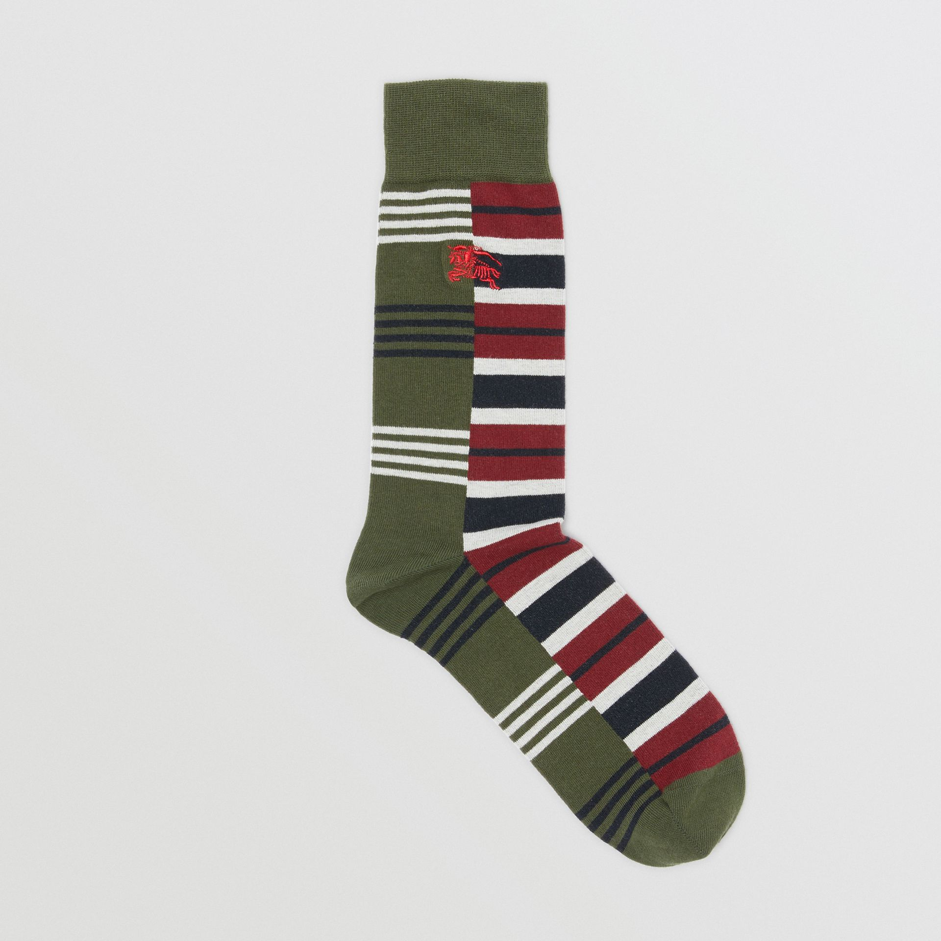 Contrast Stripe Cotton Blend Socks in Dark Olive | Burberry Australia - gallery image 0