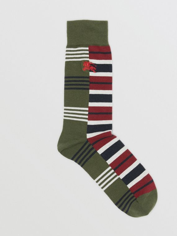 Contrast Stripe Cotton Blend Socks in Dark Olive