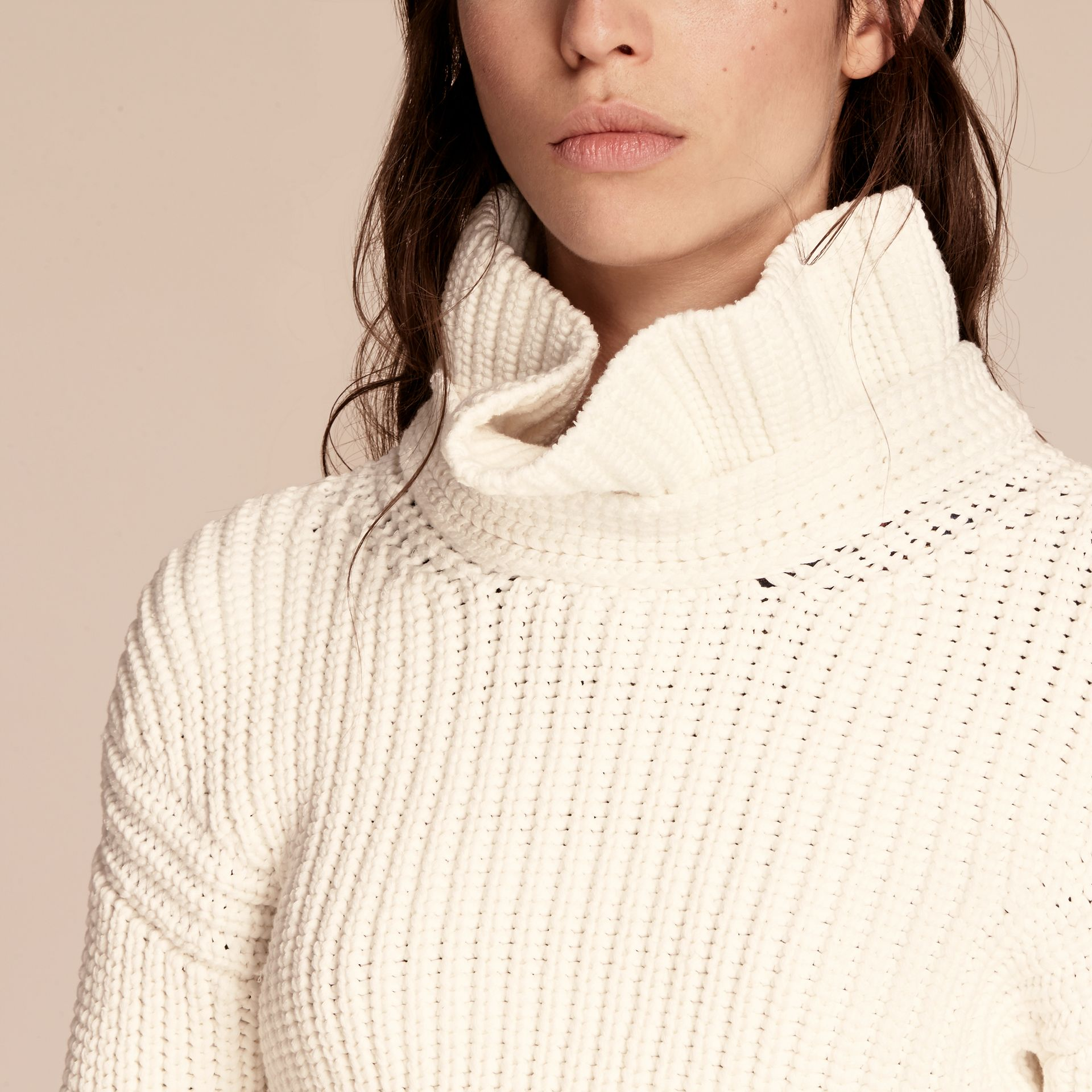 White Cotton Blend Sweater with Ruff Neck - gallery image 5