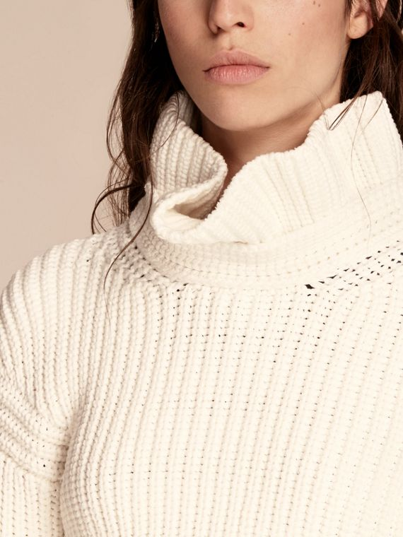 Cotton Blend Sweater with Ruff Neck