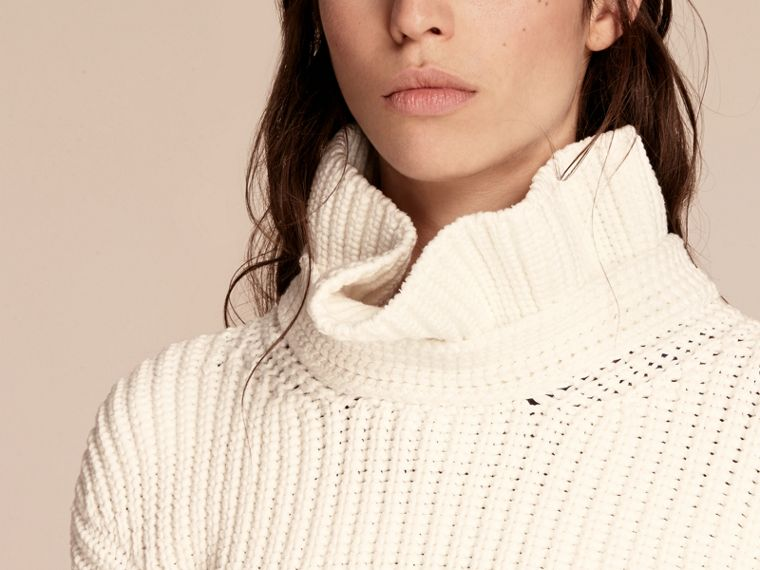 White Cotton Blend Sweater with Ruff Neck - cell image 4