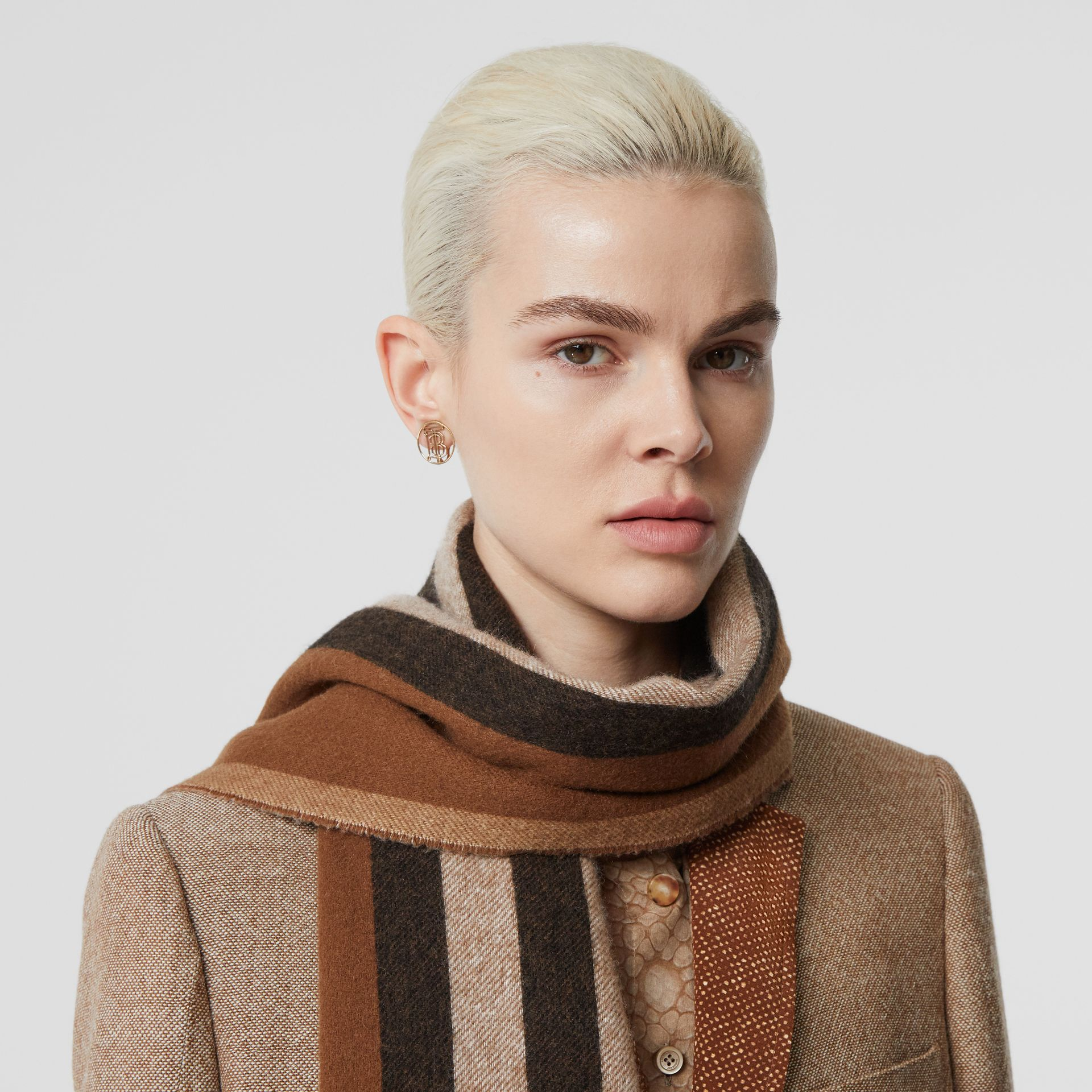 Reversible Icon Stripe Cashmere Scarf in Dark Chestnut Brown | Burberry Australia - gallery image 2