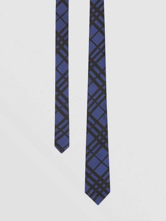 Classic Cut Check Silk Jacquard Tie in Canvas Blue