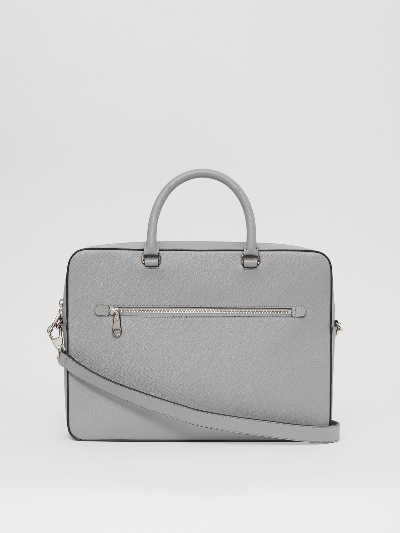 Grainy Leather Briefcase in Cloud Grey