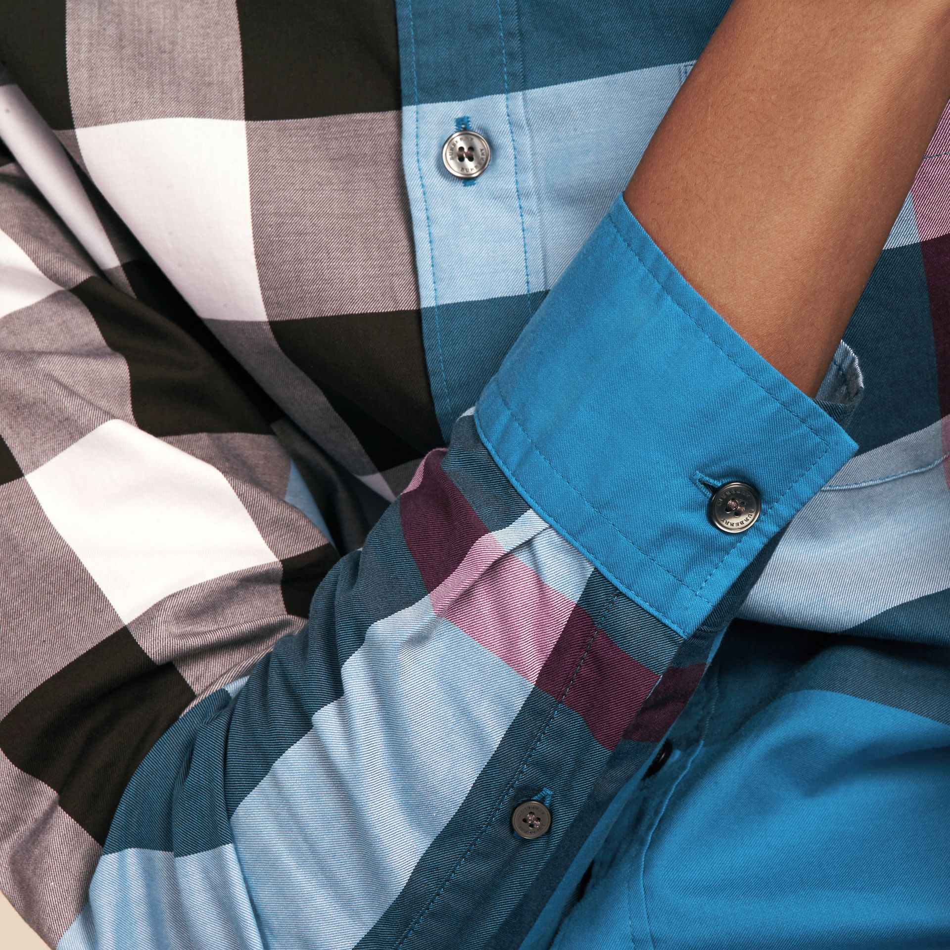 Marine blue Check Cotton Shirt Marine Blue - gallery image 5