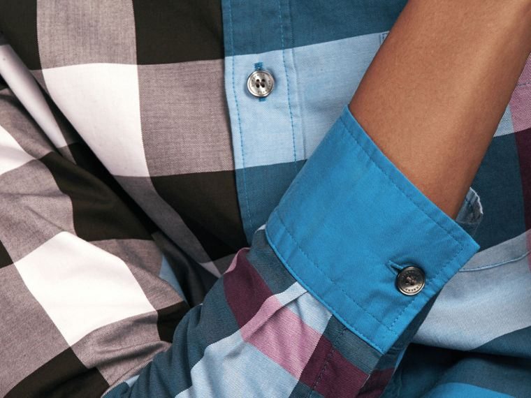 Marine blue Check Cotton Shirt Marine Blue - cell image 4