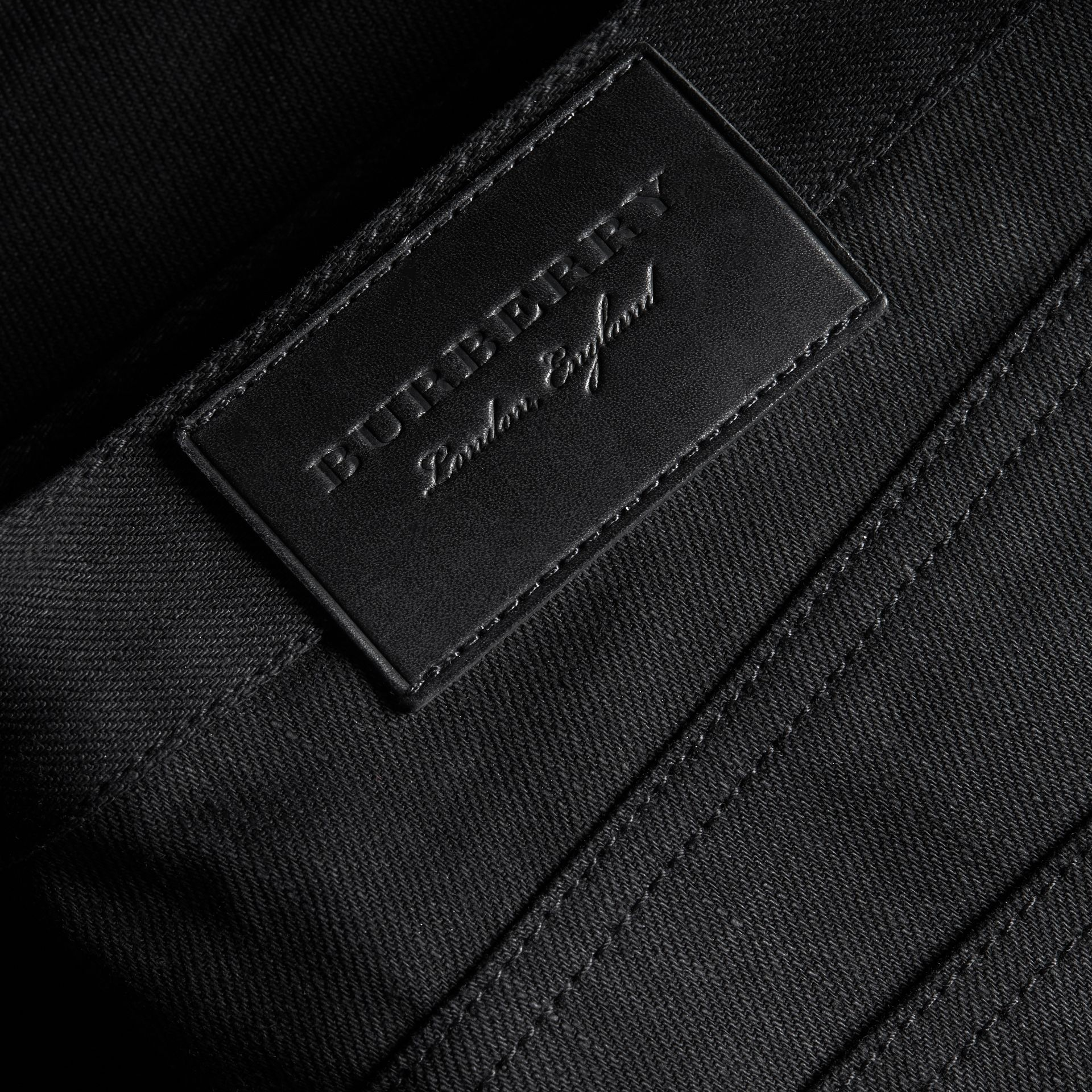 Slim Fit Japanese Denim Jeans in Black - Men | Burberry - gallery image 1