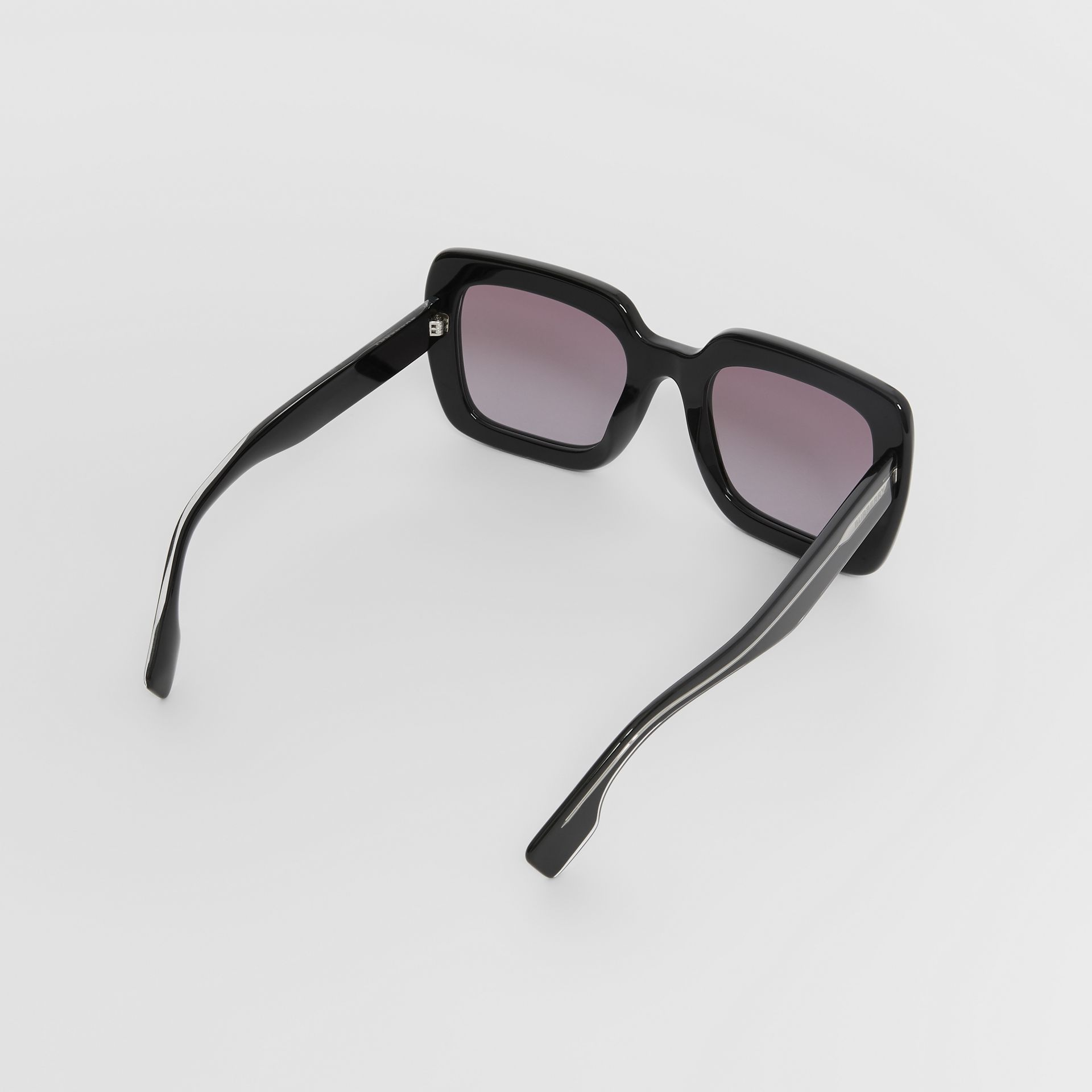 Oversized Square Frame Sunglasses in Black - Women | Burberry - gallery image 3