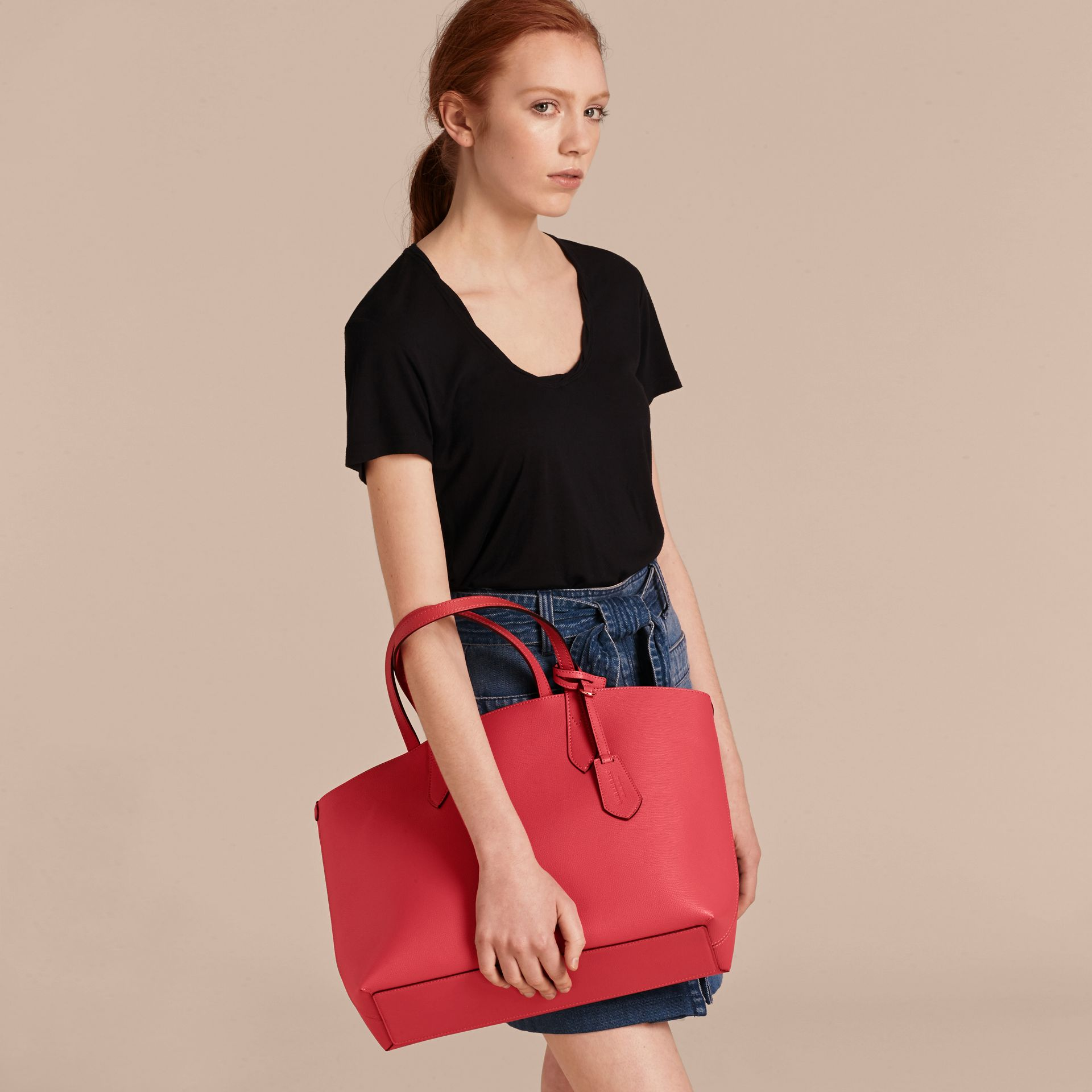 The Medium Reversible Tote in Haymarket Check and Leather Coral Red - gallery image 3