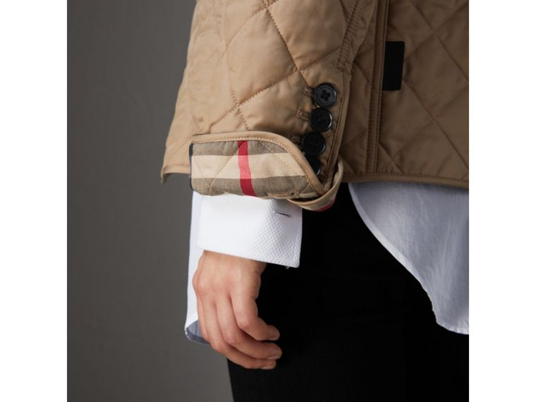 Diamond Quilted Jacket in Canvas - Women | Burberry - cell image 4