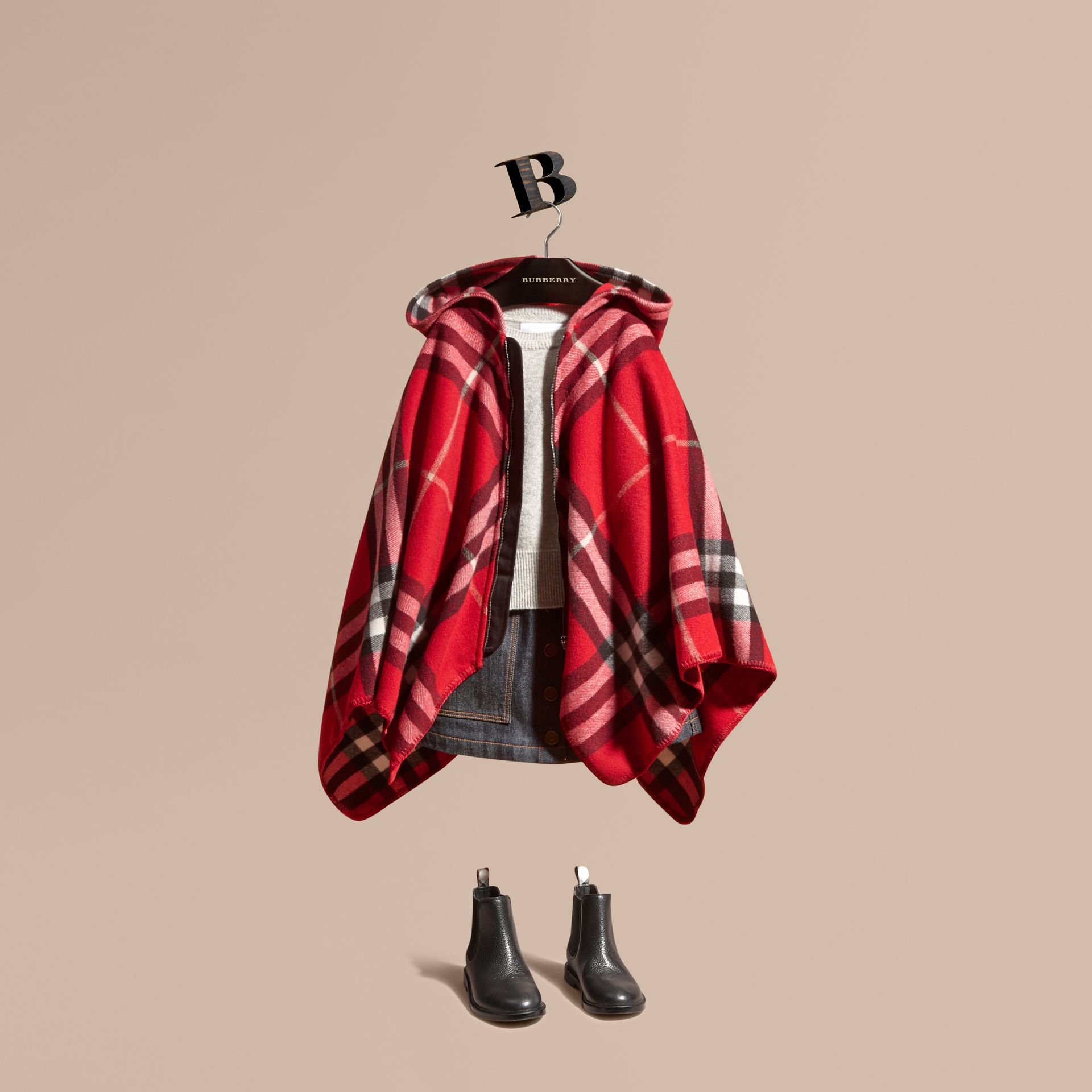 Parade red Check Wool Cashmere Hooded Poncho - gallery image 1